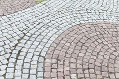 Red and Gray Cobblestone pattern in the street gro Royalty Free Stock Images