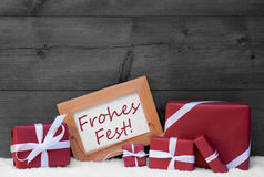 Red, Gray Decoration, Gifts, Snow, Frohes Fest, Merry Christmas Royalty Free Stock Photos
