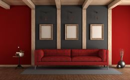Red and gray elegant living room Stock Images