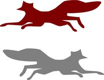 Red Gray Fox Running. Red and Gray Fox Running Isolated Vector Art Stock Images