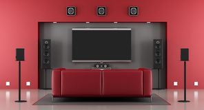 Red and gray home cinema. With sofa - 3d rendering Stock Images