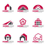 Red and gray Home logo set  design Royalty Free Stock Photos