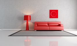 Red and gray living room Royalty Free Stock Photography