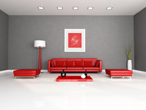 Red and gray living room Royalty Free Stock Photo