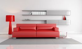 Red and gray lounge. Minimalist interior with red leather sofa fashion floor lamp - rendering Stock Photos