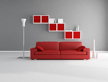 Red and gray lounge. Red and gray minimalist living room - rendering Royalty Free Stock Photos