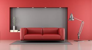 Red and gray minimalist lounge Stock Photos