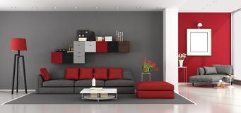 Red and gray modern living room Stock Photography