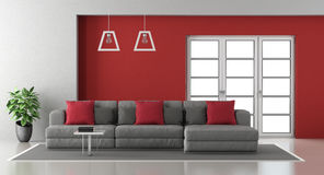 Red and gray living room stock illustration. Illustration of ...