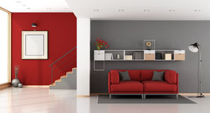 Red and gray modern living room Stock Photo