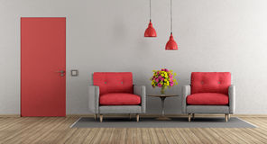 Red and gray modern living room Stock Image