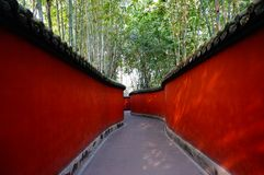 Red and Gray Pathway Near Trees stock photography