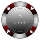 POKER CHIPS 5.000$ CASINO`. RED GRAY POKER CHIPS 5.000$  DOLLARS  -  clubs diamonds, hearts, spades, TEXAS DOLD`EM POKER Stock Photos