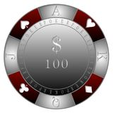 POKER CHIPS 100$ CASINO`. RED GRAY POKER CHIPS 100$ DOLLARS - clubs diamonds, hearts, spades, TEXAS DOLD`EM POKER CASINO Royalty Free Illustration