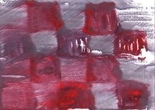 Red Gray Squares watercolor illustration. Hand-drawn abstract watercolor texture. Used contrasting and transient colors Royalty Free Stock Image