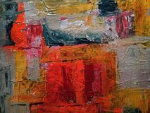 Red, Gray, and Yellow Abstract Painting Stock Photos
