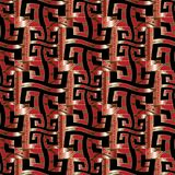 Red greek key seamless pattern. Wave greek key vector seamless pattern. Modern red black gold ornamental meander background. 3d wallpaper. Surface texture Royalty Free Stock Photo
