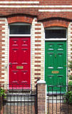 Red & Green. Red and green doors to old, victorian houses Royalty Free Stock Images