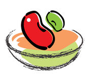 Red and green. A icon for red bean & green bean in a bowl, vector, illustration Stock Photo