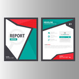 Red green Abstract Brochure report flyer magazine presentation element template a4 size set for advertising marketing website Royalty Free Stock Image