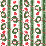 Red and Green Abstract Geometric Christmas Pattern. Abstract Seamless Geometric Christmas Pattern in Retro Style. Red and Green Royalty Free Stock Photo