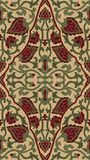 Oriental filigree pattern. Red and green abstract pattern. Oriental filigree ornament. Colorful template for textile, shawl, carpet Royalty Free Stock Photography