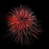 Red green amazing fireworks Royalty Free Stock Images