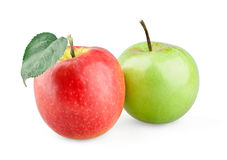 Red and green apple. On white background royalty free stock image