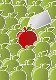 Red and green apple. Icon with label. One of a kind Stock Image