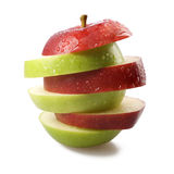 Red and Green apple clices Royalty Free Stock Images