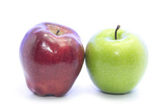 Red and Green apple contrast color and shape Royalty Free Stock Images