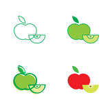 Red and green apple. Fresh fruit icon Stock Photography