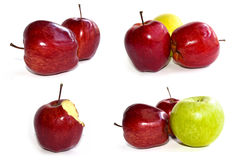 Red and green Apple set isolate on white background Stock Photos