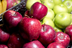 Red and green apple in steel basket Stock Photography