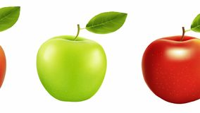 Red and green apple on a white background. diet stock footage