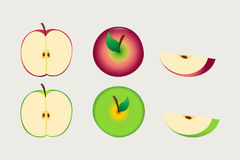 Red and green apple whole and sliced Royalty Free Stock Images