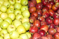 Red and green apples. Fresh organic market red and green apples Royalty Free Stock Photos