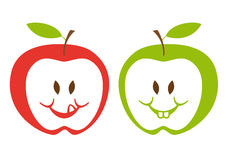 Red and green apples,. Red and green apple faces,  illustration Royalty Free Stock Photos