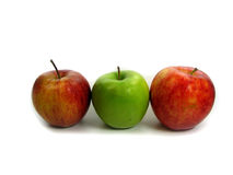 Red and green apples. In a row Royalty Free Stock Photo