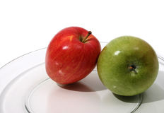 Red and Green Apples. Plate of apples Stock Images