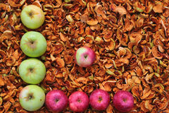 Red and green apples on background of dried apples. Symbolic graph with axis and point Stock Photo