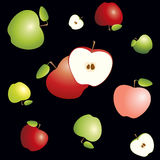 Red and green apples cut in half with core and seeds. Seamless pattern on black background Stock Image