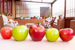 Red and green apples in the garden. Green and red apples intercalated in a row with a beautiful garden in the background royalty free stock photo