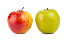Red and green apples isolated stock photography