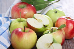 Red and green apples with leaves Royalty Free Stock Photography
