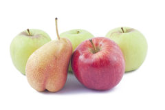 Red and green apples  and ripe pear. On white background Stock Photos