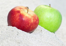 Red and green  apples on sand Royalty Free Stock Image