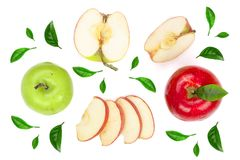 Red and green apples with slices and leaves isolated on white background top view. Set or collection. Flat lay pattern.  stock images