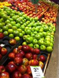 Red green apples. Red and green apples at supermarket Royalty Free Stock Image