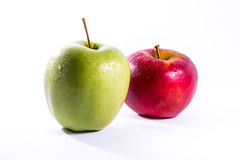 Red Green Apples Together Pair Couple Fruit Fresh Food Delciious. White Isolated Background Stock Image